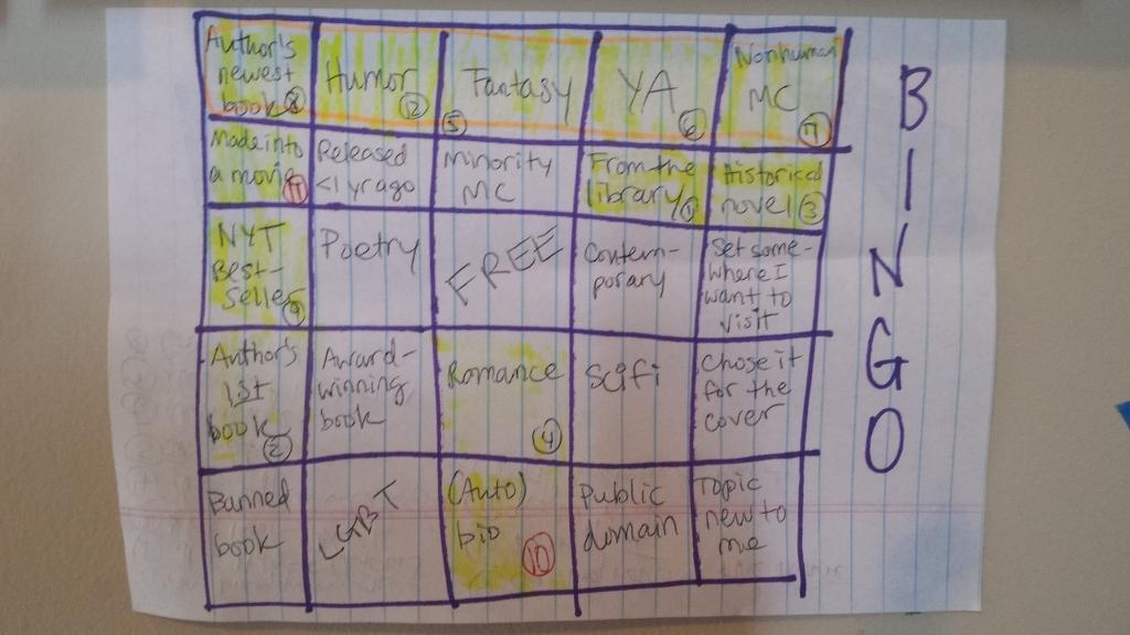 Summer Reading Bingo 2014. The bingo is on the top row.